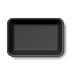 Black empty styrofoam food tray vector