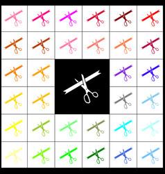Ceremony ribbon cut sign felt-pen 33 vector