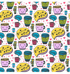 Cute doodles tea and coffee pattern doodle smiley vector
