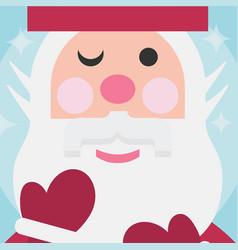 cute santa close up face christmas card on blue vector image