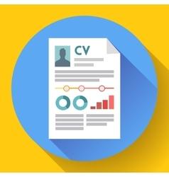 CV resume icon Modern flat 20 style vector image vector image