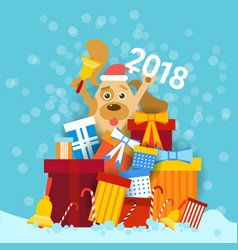 Dog in santa hat holding bell and 2018 sign over vector
