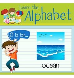 Flashcard letter o is for ocean vector