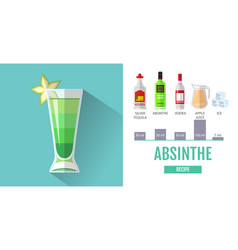 flat style cocktail menu design cocktail absinthe vector image