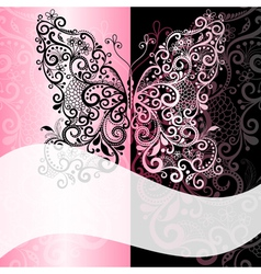 frame with vintage butterfly vector image