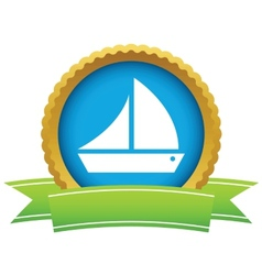 Gold ship logo vector