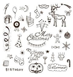 Holidays doodle set vector