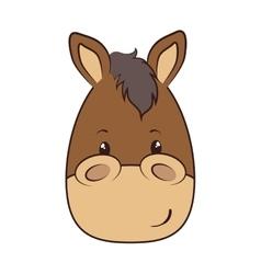 Horse face animal cartoon vector
