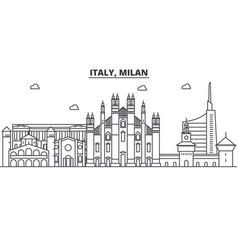 Italy milan architecture line skyline vector