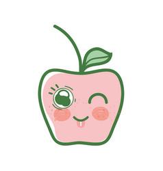 Kawaii funny and nice apple fruit vector