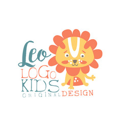 Leo kids logo original design baby shop label vector