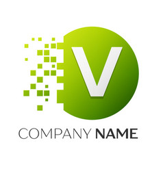 letter v logo symbol in the colorful circle vector image