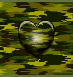 military camouflage heart vector image vector image