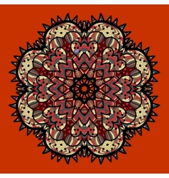 Ornamental colorful mandala on red Art vintage vector image vector image