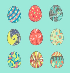 Painted easter eggs set vector