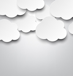 Paper white clouds on grey vector image
