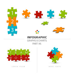 Puzzle elements for your infographics vector