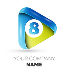 Realistic number eight logo in colorful triangle vector