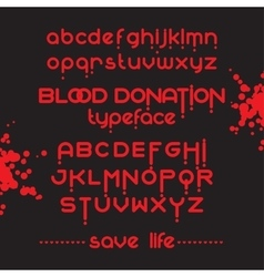Round blood font set vector