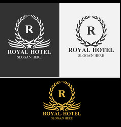 Royal hotel logo set vector
