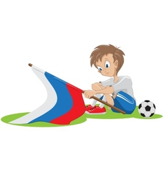 Sad football fan russian flag dropped vector