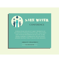 Save water conference poster invitation template vector