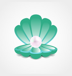 sea-green shell with a pearl inside vector image
