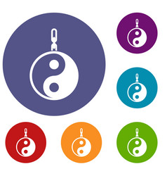 Sign yin yang icons set vector