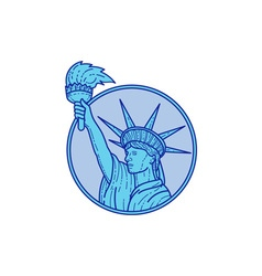 Statue of Liberty Flaming Torch Circle Mono Line vector image