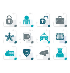 stylized social security and police icons vector image vector image