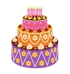 sweet cake in flat style vector image
