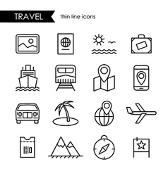 Travel and vacation thin line icon set vector image