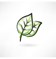 Two green leafs vector