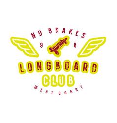 typographic emblem of longboard shop vector image