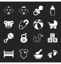 White Baby Icons vector image