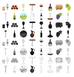 wine production set icons in cartoon style big vector image vector image