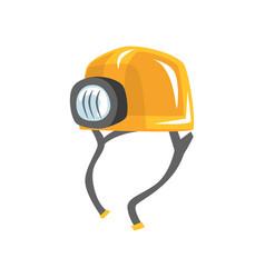 Yellow worker helmet with flashlight vector
