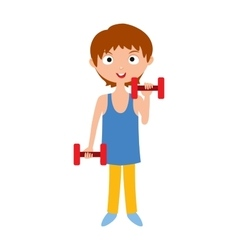 Young girl with dumbbells healthy workout gym vector image