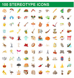 100 stereotype icons set cartoon style vector