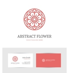 Linear red flower logo vector