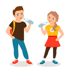 kids drinking water vector image