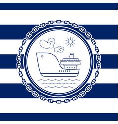 sea emblem with ship vector image