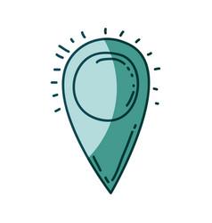 Aquamarine hand drawn silhouette of map pointer vector