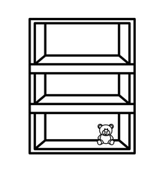 wooden shelf with toy vector image