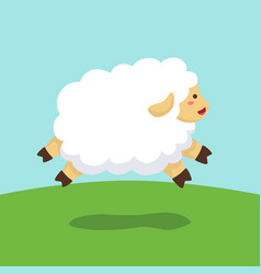 Sheep jumping on field background vector