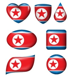 North korean flag in various shape glossy button vector