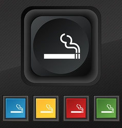 Cigarette smoke icon symbol set of five colorful vector