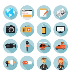 News and journalism flat icons set vector