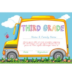 Certification template for third grade students vector image
