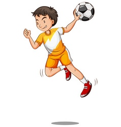 Man with ball playing handball vector